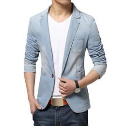 mens blazers jeans 2019 - New Fashion Men Blazer Trend Jeans Suits Men's Casual Suit Jean Jacket Mens Slim Fit Denim Jacket Suit Men Cotton J