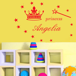 $enCountryForm.capitalKeyWord NZ - Diamond level Customized Name & Color Wall Stickers For Kids Rooms Cute Princess Crown Magic Wand Star Vinyl PVC Home Decor Muraux