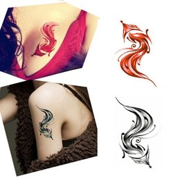 Autocollants Pour Animaux Imperméables Pas Cher-Vente en gros-10PCS Sexy Red Black Fox Designs Waterproof Body Arm Art Tatouage temporaire Femmes Fox Animal Fake Tattoos Paper Paste Tips