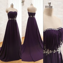 Barato Strapless Barato Vestidos De Baile-Cheap Elegant Prom Dresses Dark Purple Prom Vestido Strapless cristais Beading Rolded Chiffon Long Evening Party Vestidos com trem de varredura