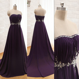 Cristaux Violets Pour Robes Pas Cher-Cheap Elegant Robes de bal Dark Purple Robe de bal sans bretelles cristaux Beading Ruched Chiffon Long Evening Party Robes avec Sweep Train