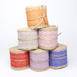 China Width 60mm Craft Handmade Jute Burlap Natural Linen Ribbon Lace Edge for DIYHeadwear Wedding Party Festive Event Decoration Gift Wrap zd181 suppliers