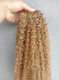 KinKy brazilian hair weave styles online shopping - New Style Brazilian Virgin Remy Kinky Curly Hair Weft Human Hair Extensions blonde Color g one bundle
