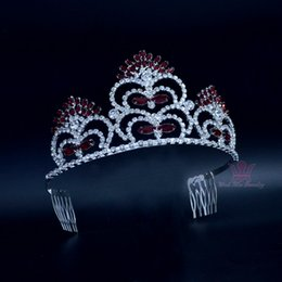 Crystals For Beauty NZ - Miss Beauty Paggeant Crowns 3.2 Inches Siam Colour With Comb Rhinestone Red Tiaras For Wedding Events Bridal Accessories Headpieces 02182