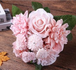 Silk dahlia flowers canada best selling silk dahlia flowers from silk dahlia flowers canada silk flower wedding bouquet roses dahlias artificial flowers fall vivid fake mightylinksfo