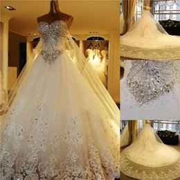 Castle Bling Wedding Dress Canada - 2017 Luxury Real Image Ball Gown Wedding Dresses detachable skirt Sweetheart Major Beading Bling Stones Crystals Bridal Gowns Lace Applique
