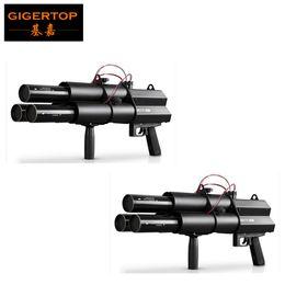 Gun triGGers online shopping - TIPTOP XLOT No AA Battery Head Electric Streamer Cannon DMX Channels Hand Trigger Control Black Aluminum Casting Confetti Jet DJ Gun