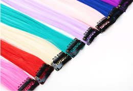 piece long hair extensions clip 2019 - Dropshipping Fashion hair extension for women Long Synthetic Clip In Extensions Straight Hairpiece Party Highlights Punk