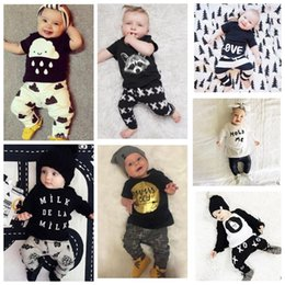 Pantalon À Manches Longues Pas Cher-KIDS INS letter Costumes Enfants Toddler Infant Casual Short manches longues T-shirt + pantalons 2pcs sets Long Sleeve Outfit KKA2140
