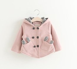 $enCountryForm.capitalKeyWord Canada - Clear Stock Little Girls Bunny Ear Pocket Hoodie Coats Fall 2019 Kids Boutique Clothing 1-4 Year Girls 2 Line Buttons Outerwear