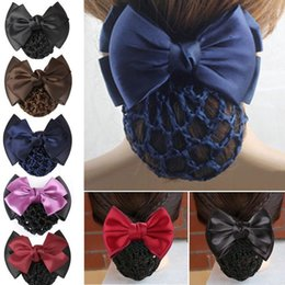 stylish hair accessories women 2019 - Stylish Women Bow Barrette Hair Clip Cover Bowknot Bun Snood Hair Accessories #T701 discount stylish hair accessories wo