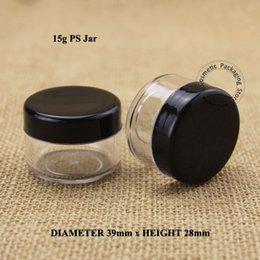 Discount small cream jars wholesale - Wholesale- 50pcs Lot Plastic15g Cream Jar with Black Lid Empty PS 1 2OZ Women Cosmetic 15ml Container Small Eyeshadow Vi