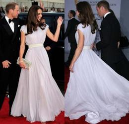A Line Scoop Kate Middleton Bateau Sash Cap Sleeve Prom Dresses Custom  Silver Chiffon Evening Gowns Celebrity Long Women Formal Dresses bed4d71676b2