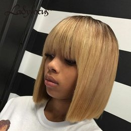 1b 27 bob wig online shopping - Bob Wig With Bang Ombre B Glueless Full Lace Wig With Baby Hair Straight Lace Front Human Hair Wigs For Black Women
