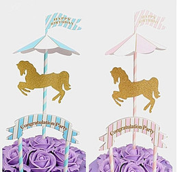 $enCountryForm.capitalKeyWord UK - cake toppers paper banner Merry-Go-Round for Cupcake Wrapper Baking Cup birthday tea party decoration baby shower