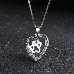 paw pendant wholesale Australia - Wholesale Fashion Dog Paw Print Heart Pendant Necklace for Women Spring Style Animal Lover Necklaces Jewelry Accessory