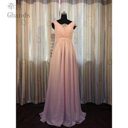 2017 Ghands Barato A-Line Encaje / Gasa Con cuello en V Hasta el suelo Invitado de boda Más vestidos formales Vestidos de dama de honor Elegantes Tamaño / Color en venta