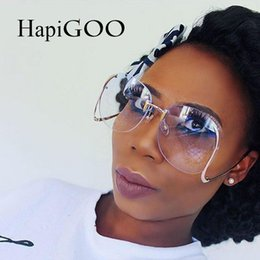 16221ef29df HapiGOO New Rimless Round Big Sunglasses Women Brand Designer Fashion Alloy  Frame Vintage Oversized Clear Gradient Sun Glasses