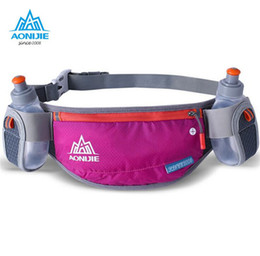 Discount aonijie hydration pack - Wholesale- AONIJIE Men Women Running Hydration Belts Bottle Holder Belt Reflective Running Water Belt Fanny Pack Two Typ