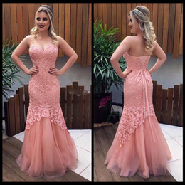 soft pink sweetheart prom dresses 2019 - Sexy Lace Bodice Mermaid Pink Prom Dresses 2018 Blush Appliques Lace Up Back Soft Tulle Skirts Evening Dresses Pageant G