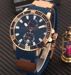 Best Brand watch Boxes online shopping - Best Brand Luxury Rose Gold Stainless Transparent Back Men Mechanical Wristwatch Black Rubber Diver Siwss Mens Business Watches Gift Box