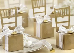 Barato Caixas De Presente De Cadeira-50Pieces Gold Chair Shape Place Titular do cartão Wedding Candy Box Gift Gift Boxes Wedding Bonbonniere Event Party Supplies