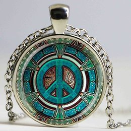 $enCountryForm.capitalKeyWord Canada - Hippie Peace Sign Glass Dome Pendant Necklace DIY Handmade Fashion Jewelry Vintage Charm Trendy Gift for Men Women