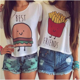 $enCountryForm.capitalKeyWord Australia - Wholesale- Women T-shirt Hot Summer Funny Best Friends T Shirt And Coffee Duo Flowy Print Tees Burger fries baNvTx16