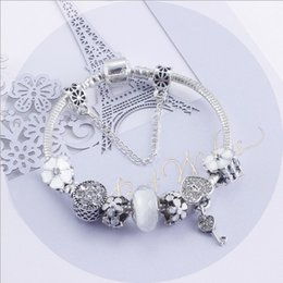 $enCountryForm.capitalKeyWord NZ - Fashion 925 Sterling Silver White Crystal Murano Lampwork Glass & European Charm Beads Heart Dangle Fits Pandora Charm Bracelets Necklace B8