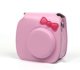 $enCountryForm.capitalKeyWord Canada - PU Leather Camera Case Camera Bag For Fujifilm Polaroid Instax Mini7 7s Bow-knot