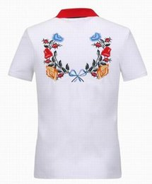 Polo À Col Blanc Pas Cher-Global White Flowers Print Polo Hommes 2017 Summer Cotton Turn Down Collar Hommes Polos Italian Fitness Polo Shirt Camisa