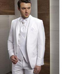 Dark Green Tie Grey Suit Australia - Custom Made New Style Groom Tuxedos Notch Lapel Men's Suit White Groomsman Bridegroom Wedding Prom Suits (Jacket+Pants+Tie+Vest)