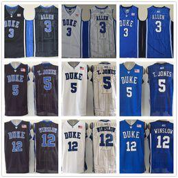 51302ff8e81 NCAA Cheap Mens #3 Grayson Allen Jersey 5 Tyus Jones 12 Justise Winslow  Blue Black White Duke Blue Devils College Basketball Jerseys