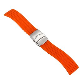 44bbc0eccc0 10pcs Silicone Rubber Watch Strap Band Deployment Buckle Waterproof  Watchband 16mm