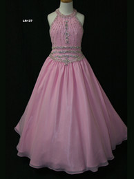 $enCountryForm.capitalKeyWord NZ - Wholesale 2017 New Halter Top Beaded Light Pink Little Girl Pageant Dresses Princess Ball Gown