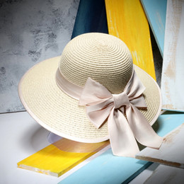 elegant hats for beach 2019 - Wholesale- Women Elegant Sun Hats Sombreros Mujer Verano Ladies Summer Wide Brim Beach Straw Hat With Bow For Holiday ch