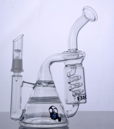 Coil Perc Bong Canada - Thick Bong Skull Double Honeycomb Perc Bong Freezable Coil Bong Unique Recycler Beaker Bongs with 14mm joint