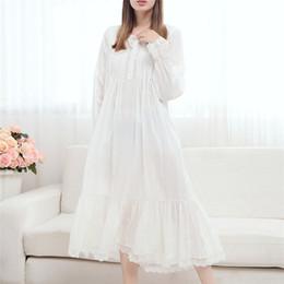 Wholesale- 2017 Long Cotton Nightgown Princess Sleep Lounge Women White  Home Dress Sleepshirts Female Nightdress Vintage Camisao  P165 15bd8a971