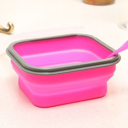 $enCountryForm.capitalKeyWord Australia - foldable silicone lunch box with fork picnic Outdoor Portable bucket or crisper food storage container 600ml 20pc h128