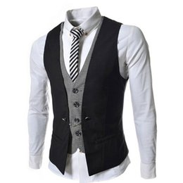 Abercrombie And Fitch Pas Cher-Wholesale- Mode 2015 Slim Hommes Gilet Casual Veste V-Necked Robe Classic Hommes Suit Veste Business Jacket Tops Double Breasted Vest Suit