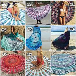 round beach towel mandala tapestries cotton 24 patterns boho spa wraps bikini cover up beachwear bath throw shawl rugs tablecloths 43 styles