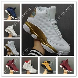 Barato Sapatos De Tecido Barato E Branco-Desconto New New Retro 13 Mens Basketball Shoes Low Alternate Brave Blue Chutney Pure Money White Gold Vinho Red Velvet Heiress sneakers