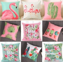 Wholesale Summer Flower Cushion Cover Flamingo Birds Tropical Palm Tree Pillow Cover Soft Pillow Cases X40cm Kids Favor Bedroom Sofa Decoration