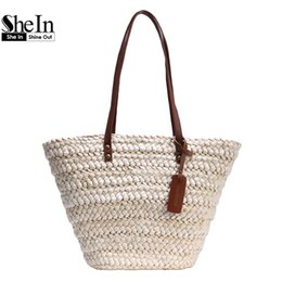 Grand Sac De Plage Blanc Pas Cher-Wholesale- SheIn Ladies Nouvelle mode High Street Handbags Womens Casual Beach Wear Blanc Contraste Poignée Paille Grand sac fourre-tout