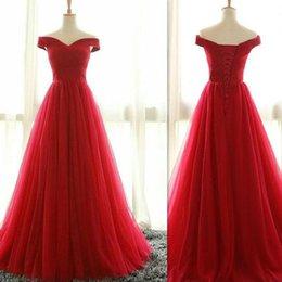 Опт 2017 Красный тюль с плеча вечерние платья A-line Real Photo формальные женщины свадьбы гостевые платья простой