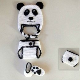 $enCountryForm.capitalKeyWord Canada - Novelty Adorable Newborn Panda Bear Costume,Handmade Knit Crochet Baby Boy Girl Animal Earflap Hat Diaper Cover and Booties,Infant Photo Pro