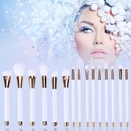 White Rose Synthetic NZ - 15pcs Makeup Brushes Set Powder Foundation Eyeshadow Eyeliner Lip Brush Tool White and Rose Gold Cosmetic Brushes Kit