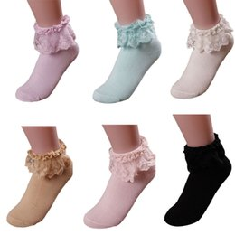 girls white ankle socks 2018 - Wholesale-Women Vintage Lace Ruffle Frilly Ankle Socks Princess Girl Cotton Sock cheap girls white ankle socks