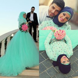 mint plus size shirt NZ - Hot Mint Green CrystalsRhinestones Arabic Wedding Dresses Tulle Lace Bodice High Neck 2017 Muslim Bridal Wedding Gowns Plus Size