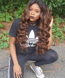 22 ombre full lace wig NZ - Ombre 1B#30 Loose Wave Full Lace Wig Pre plucked 150% Density Lace Front Wig Brazilian Virgin Human Hair Wig with Dark Black Roots